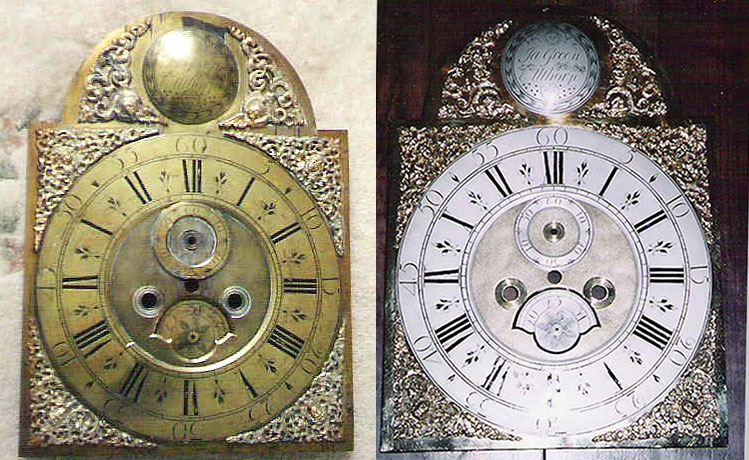 Brass  dial - before and after restoration