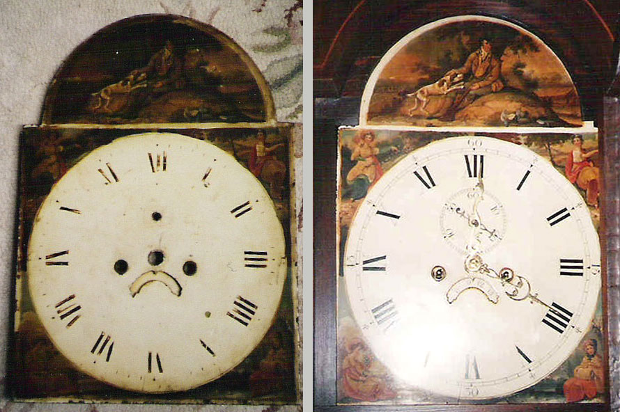 Scottish painted dial - before and after restoration